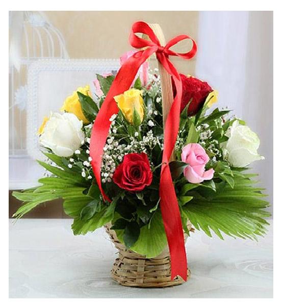 CF Basket of Colorful Roses