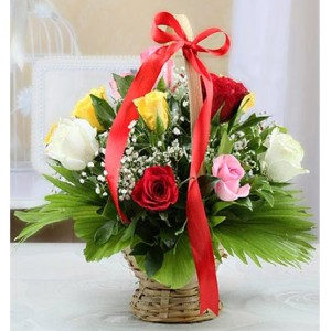 CF Basket of Colorful Roses
