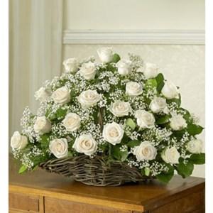 CF Basket of White Roses