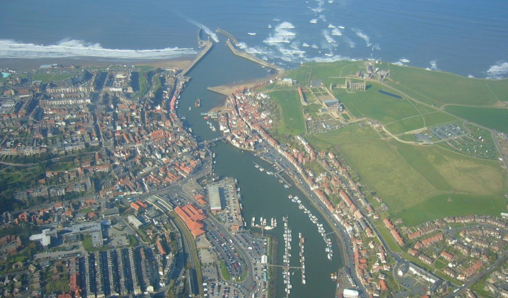 Arial view of Whitby, England