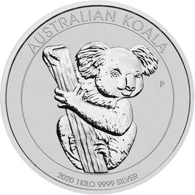 """Côté face de la pièce en argent """"Koala"""" de 1Kg - Australie"""