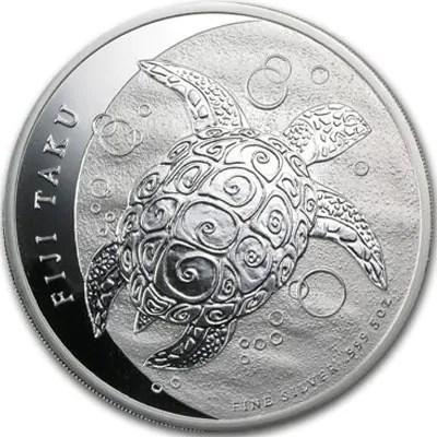 """Côté face de la pièce en argent """"Tortue Ils Fidji"""" 1Oz"""