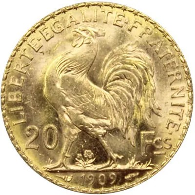 Pièce en or 20 Francs Napoleon Or Coq Chapelain