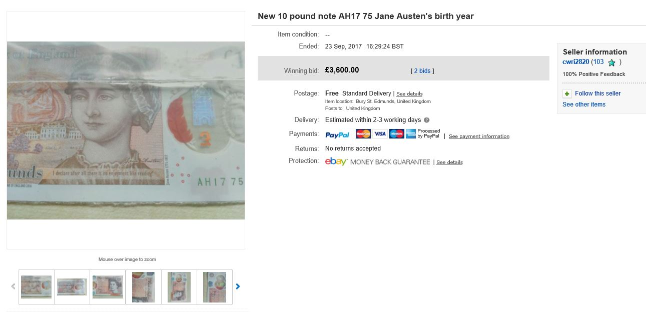 c2a310 note ebay - A new Polymer Jane Austen £10 note has sold for £3,600!