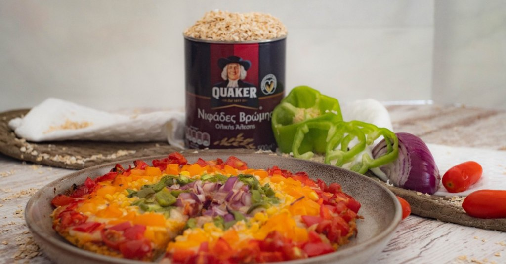 Pizza with Quaker Oats and vegetables