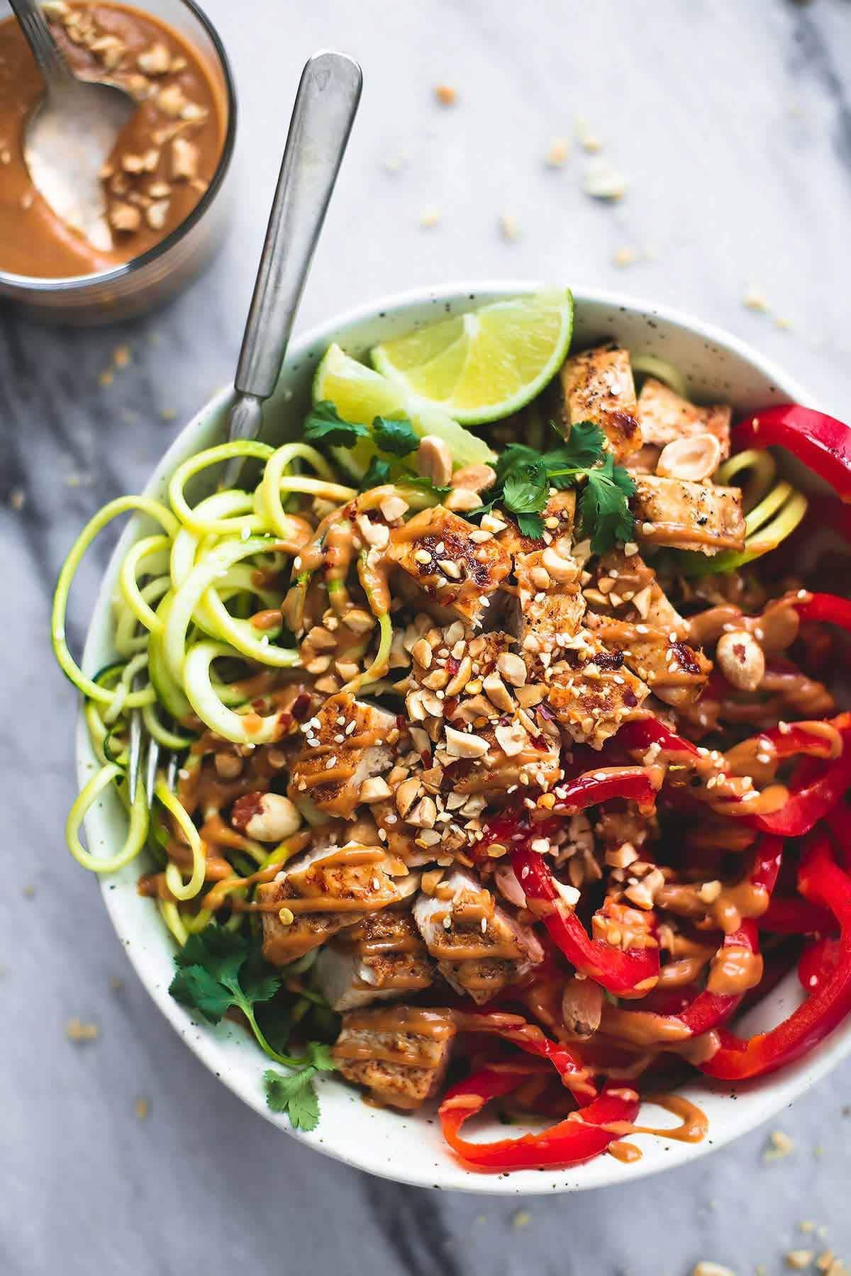 Thai Peanut Chicken Zucchini Noodle Bowl