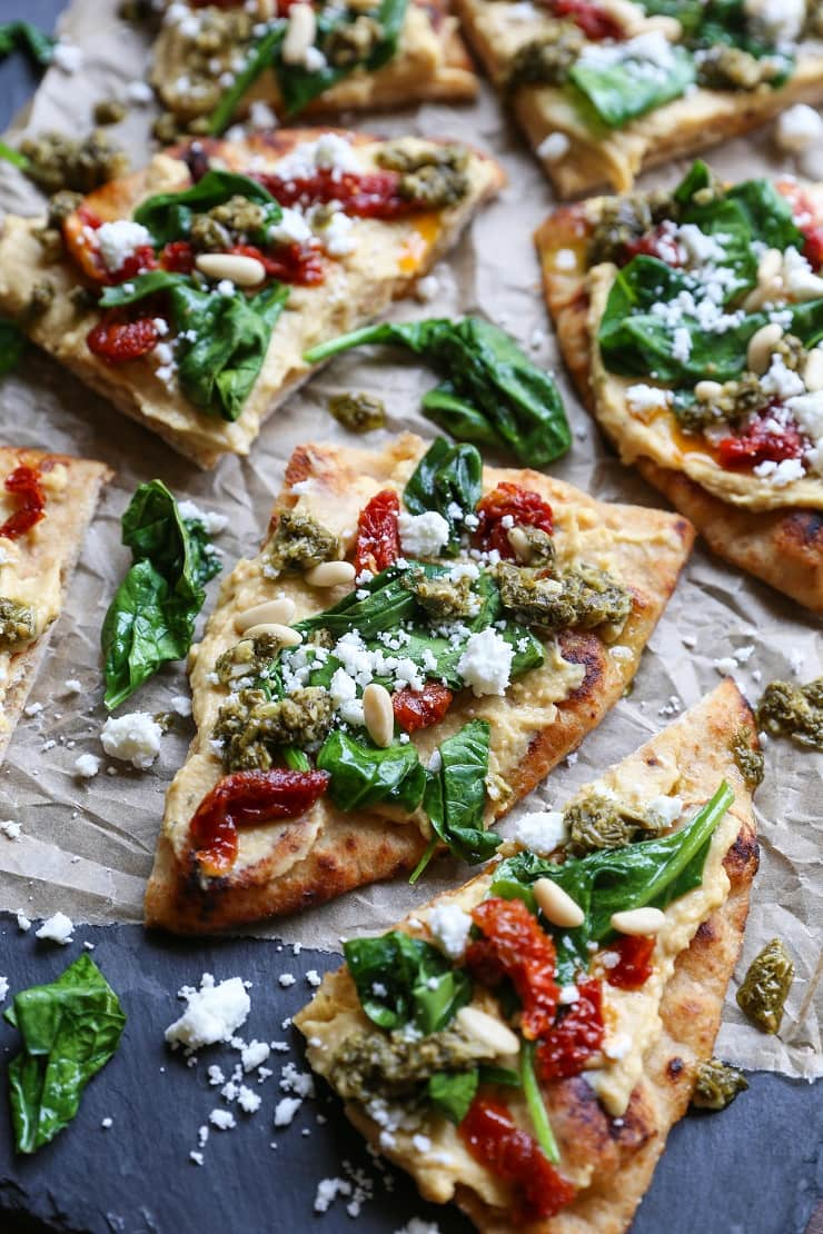 Hummus Flatbread With Sun-Dried Tomatoes