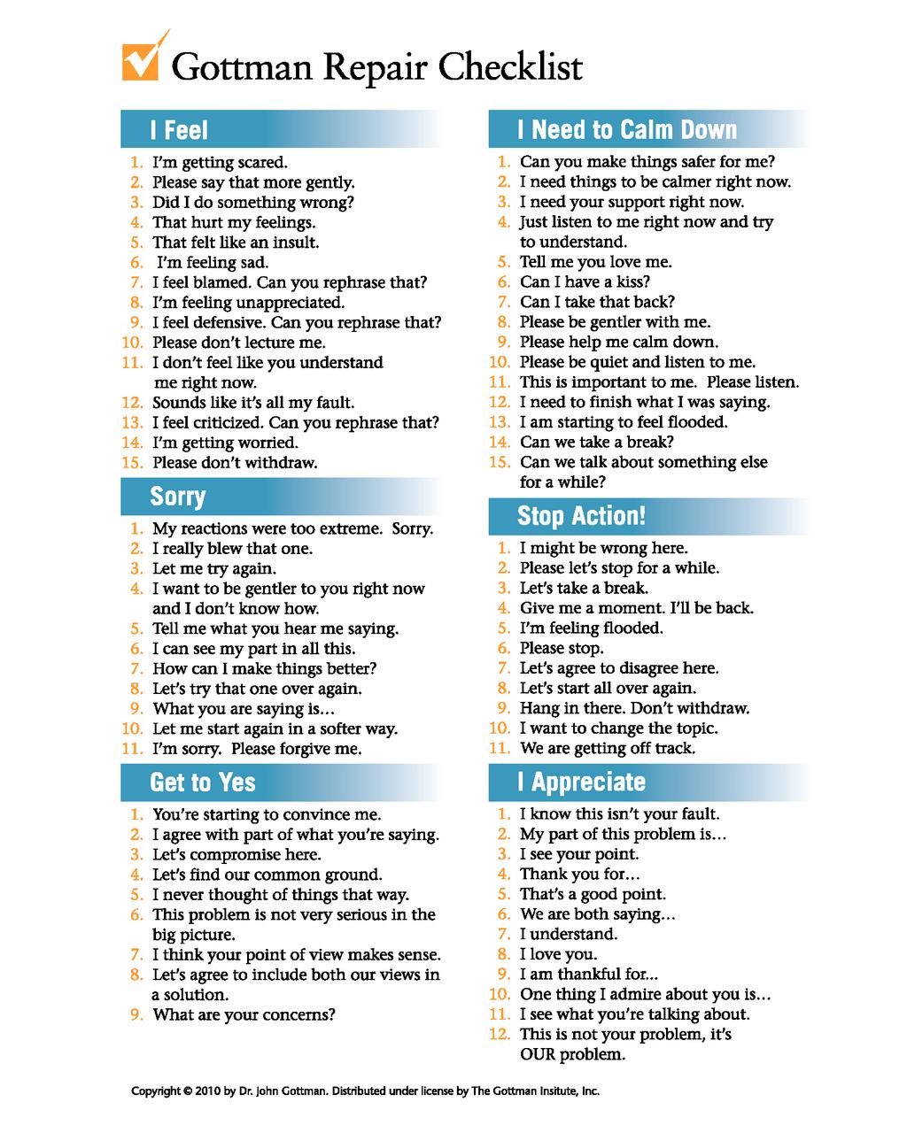Psychologist John Gottman S Relationship Repair Checklist Zenhabits