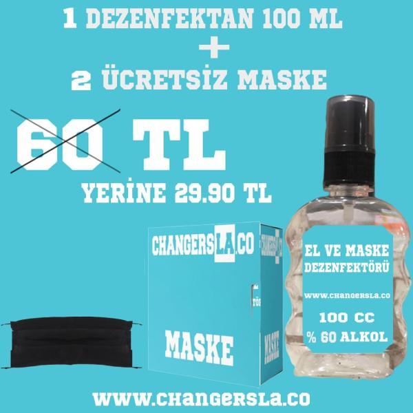 dezenfektan ve ücretsiz maske
