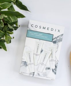 Cosmedix Skincare Treatment Prep 4-piece Essentials Kit with Purity Clean cleanser, Simply Brilliant brightening serum, Define resurfacing cream, and Hydrate+ moisturizer