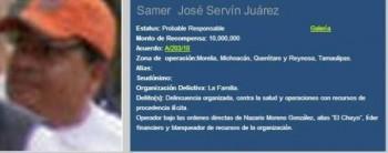Samer José Servín Juárez Los Caballeros Templarios recompensa
