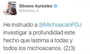 Silvano Aureoles tuit asesinato niñas Morelia