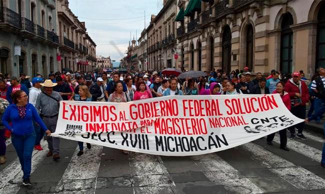 marcha CNTE Morelia gobierno