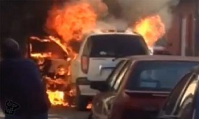 taxi incendio monumento Morelia