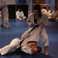 Philippa performing a Hapkido throwing technique