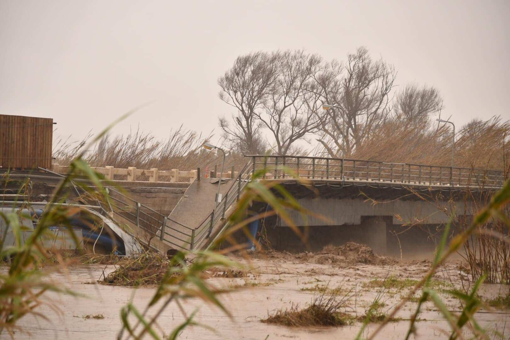 A collapsed bridge in the village of Platanias