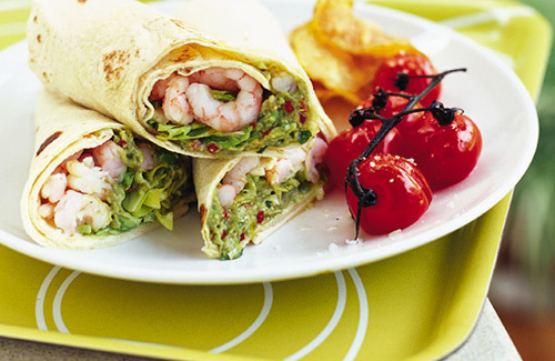 Prawn and guacamole wraps