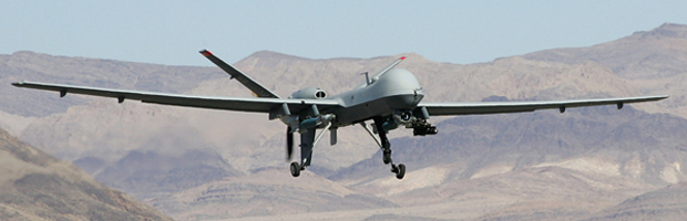 A Reaper drone takes off from a US airbase. (Getty)