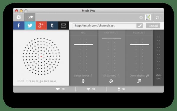 Mixlr streamt unsere Aufzeichnung live ins Netz und erlaubt mit Hörer zu chatten.