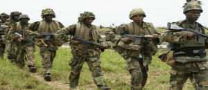 Military fighting terrorists in Sambisa Forest