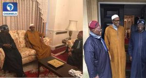 PICTURES: Buhari Hosts Tinubu, Akande In London