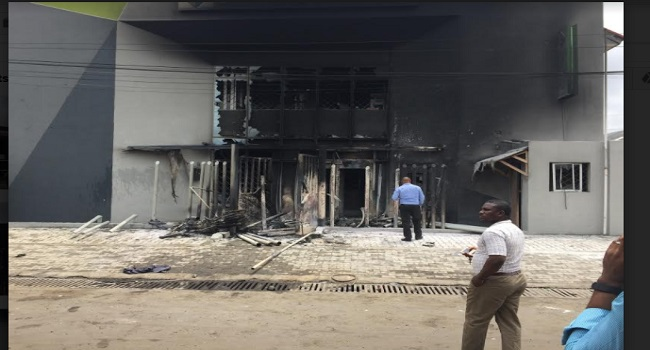 Image result for Tanker drivers set two banks on fire in Lagos after Police kills colleague