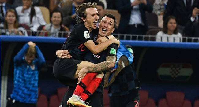 Luka Modric and Mario Mandzukic Celebrate Croatias Second Goal Against England 2018 World Cup