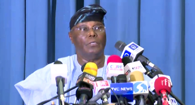 Image result for atiku press conference
