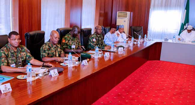 President Buhari Meets With Governors, Security Chiefs In Abuja