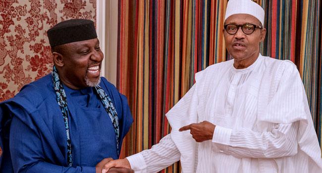 Buhari Okorocha - President Buhari meets with Okorocha in Aso Rock
