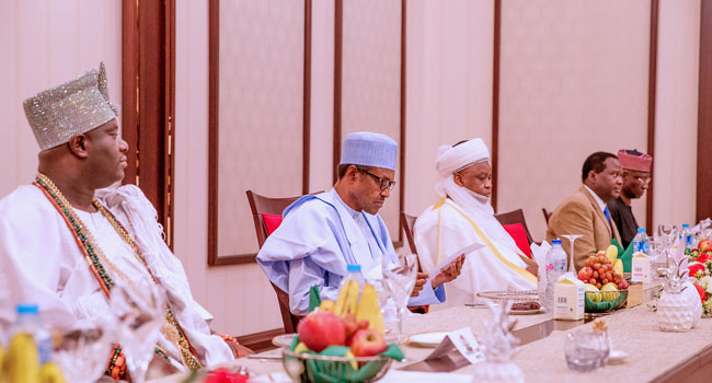 Sultan, Emir Of Kano, Other Traditional Rulers Dine With President Buhari – Channels Television 1
