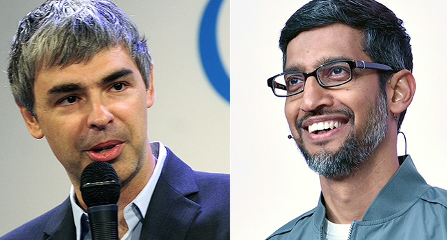 This combination of file pictures created on December 3, 2019 shows (L-R) Google CEO Larry Page on May 21, 2012; Google CEO Sundar Pichai on May 7, 2019, at the Shoreline Amphitheatre in Mountain View, California.