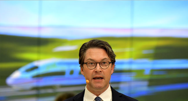 German Transport Minister Andreas Scheuer addresses the media at the signing of an agreement on railway modernisations with German railway operator Deutsche Bahn (DB) in Berlin, Germany, on January 14, 2020.
