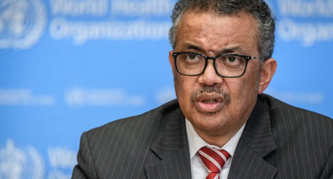 World Health Organization (WHO) Director-General Tedros Adhanom Ghebreyesus attends a daily press briefing on COVID-19 virus at the WHO headquaters on March 11, 2020 in Geneva./ AFP