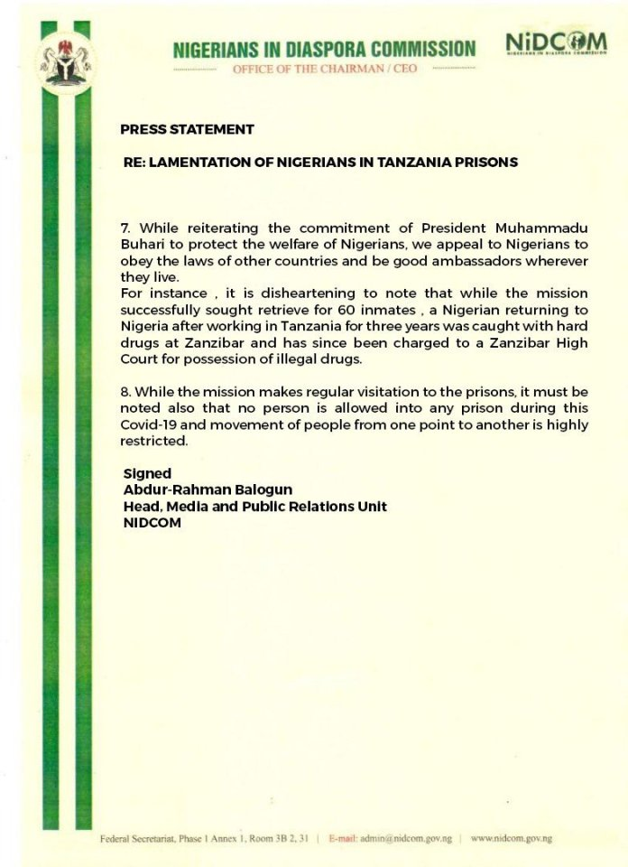 image The release of 60 out of 73 Nigerians imprisoned in Tanzania