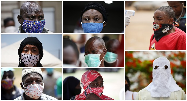 A combination of photos from Sodiq Adelakun's 'Masking away the pandemic' created on May 26, 2020.