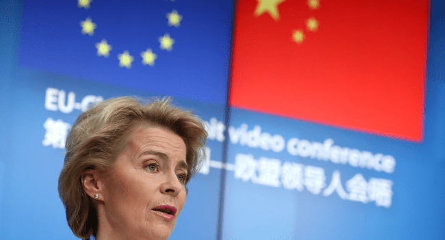 European Commission President Ursula von der Leyen speaks during a news conference with European Council President (not seen) following a virtual summit with Chinese President in Brussels, on June 22, 2020. YVES HERMAN / POOL / AFP