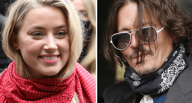 A combination of pictures shows US actress Amber Heard (L) and her former husband US actor Johnny Depp (R) arriving on the second day of Depp's libel action against News Group Newspapers (NGN), at the High Court in London, on July 8, 2020. ISABEL INFANTES / AFP