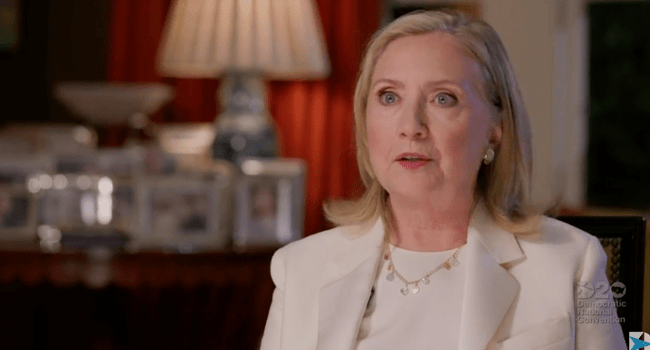This video grab made on August 19, 2020 from the online broadcast of the Democratic National Convention, being held virtually amid the novel coronavirus pandemic, shows former Secretary of State and former First Lady Hillary Clinton speaking during the third day of the convention. DEMOCRATIC NATIONAL CONVENTION / AFP