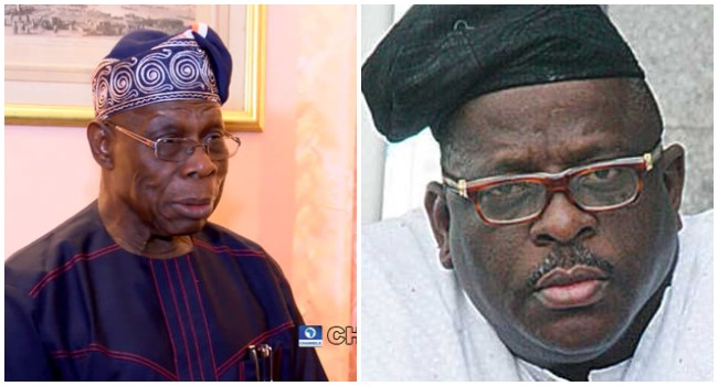 A photo combination of former President Olusegun Obasanjo and late Senator Buruji Kashamu.