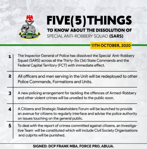 IGP Dissolves SARS, redeploys them to others sectors of the NPF