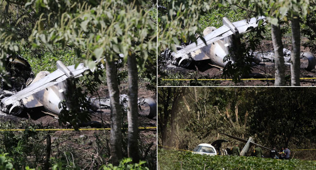 View of a Mexican Air Force plane after it crashed near the airport of Xalapa, Veracruz state, Mexico, on February 21, 2021. EDUARDO MURILLO / AFP
