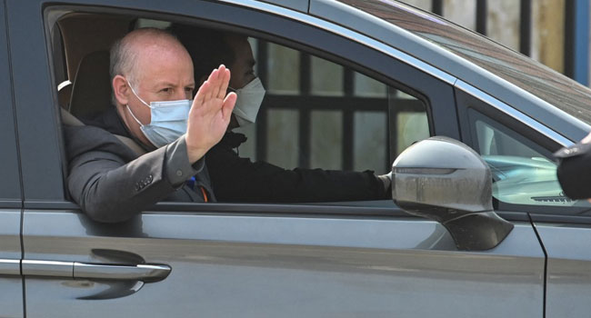 Peter Daszak and other members of the World Health Organization (WHO) team investigating the origins of the COVID-19 coronavirus, leave the Wuhan Institute of Virology in Wuhan, in China's central Hubei province on February 3, 2021. Hector RETAMAL / AFP