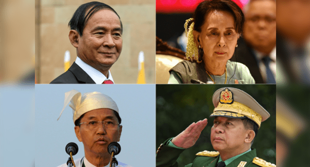 This combination of pictures created on February 1, 2021 shows (top L) Myanmar's President Win Myint during a visit to New Delhi on February 27, 2020, (top R) Myanmar's State Counsellor Aung San Suu Kyi at the 35th Association of Southeast Asian Nations (ASEAN) Summit in Bangkok on November 4, 2019, (bottom L) Myint Swe, then the Yangon division chief minister, delivering a speech in Yangon on February 12, 2013, and (bottom R) Myanmar's Chief Senior General Min Aung Hlaing, commander-in-chief of the Myanmar armed forces, saluting during a ceremony to mark the 71th anniversary of Martyrs' Day in Yangon on July 19, 2018. Soe Than WIN, Prakash SINGH, Lillian SUWANRUMPHA, Ye Aung THU / AFP