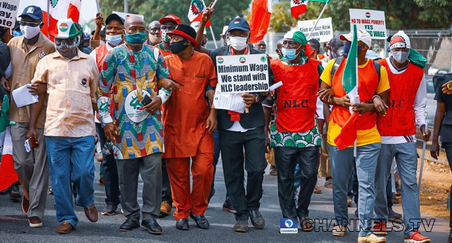 Members of the Nigeria Labour Congress protested in Abuja over a minimum wage bill on March 10, 2021.