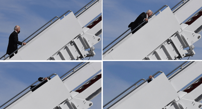 This combination of pictures created on March 19, 2021 shows US President Joe Biden continuing up the steps after tripping while boarding Air Force One at Joint Base Andrews in Maryland on Friday. Eric BARADAT / AFP