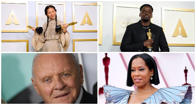 The 2021 Oscars featured winners Director/Producer Chloe Zhao, Daniel Kaluuya, and Welsh actor Anthony Hopkins. AFP