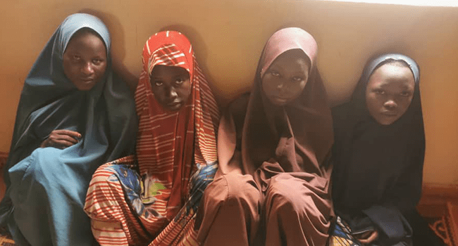 This photo, obtained from the Zamfara state police command on June 26, 2021, shows four victims said to have rescued from kidnappers.