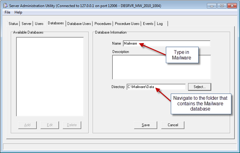 Add Database Directory