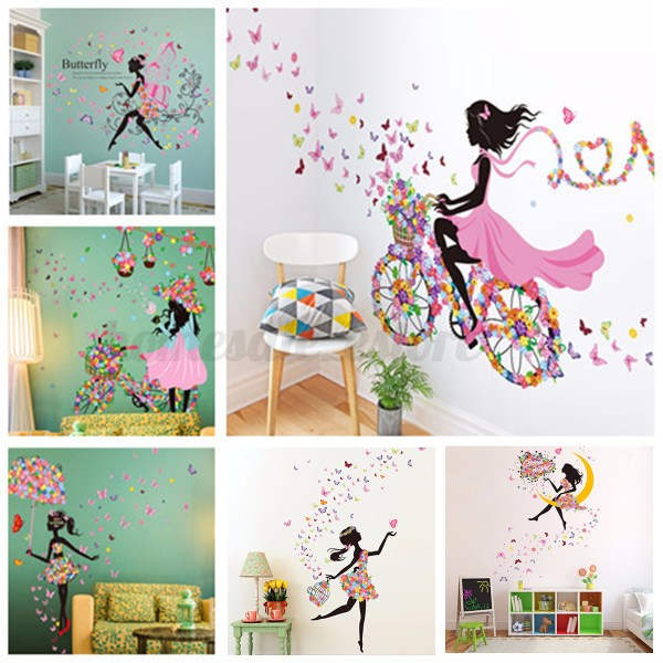 Flower Girl Removable Wall Art Sticker Vinyl Decal Kids ...